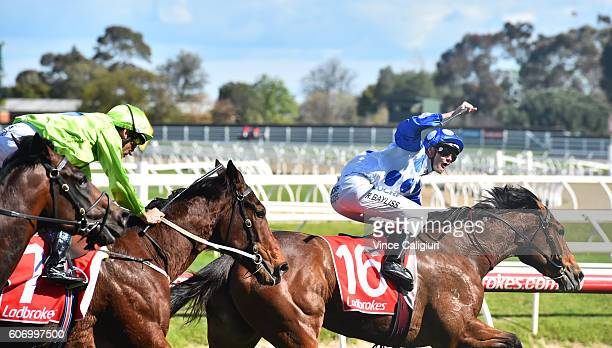Regan Bayliss riding Harlow Gold wins Race 5 during Melbourne Racing at Caulfield Racecourse on September 17 2016 in Melbourne Australia