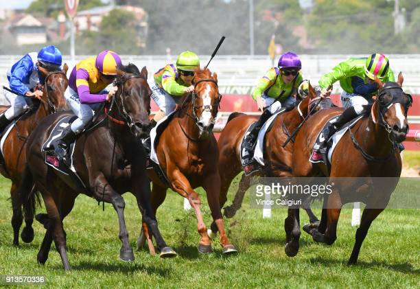 Regan Bayliss riding Lady Esprit winning Race 6 WJ Adams Stakes during Melbourne Racing at Caulfield Racecourse on February 3 2018 in Melbourne...
