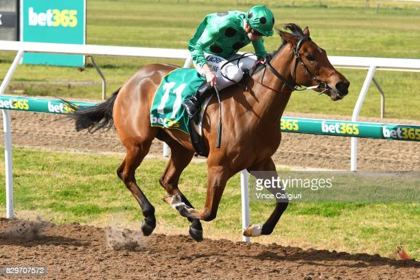 Regan Bayliss riding Oscietra wins Race 2 during the Bell Park Football Club Race Day at Geelong Racecourse on August 11 2017 in Geelong Australia...