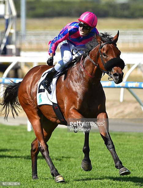 Regan Bayliss riding Pilote D' Essai wins Race 7 Pakenham Cup during Melbourne racing at Racingcom Park on December 3 2016 in Pakenham Australia