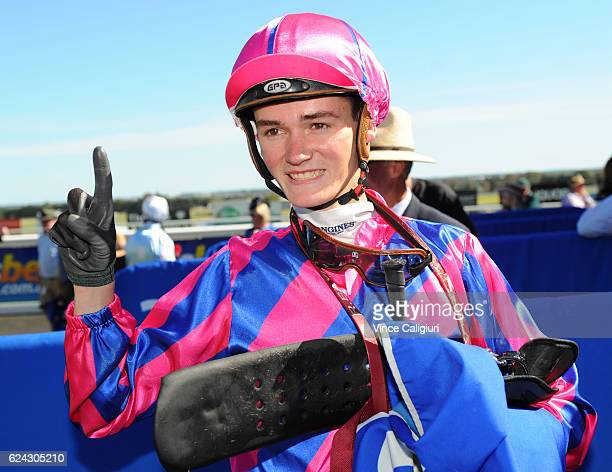Regan Bayliss riding Pilote D'Essai after winning Race 8 Sportsbetcomau Ballarat Cup at Ballarat Racecourse on November 19 2016 in Ballarat Australia