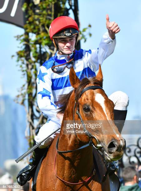 Regan Bayliss riding Redkirk Warrior after winning Race 4 Bobby Lewis Quality during Melbourne Racing at Flemington Racecourse on September 16 2017...