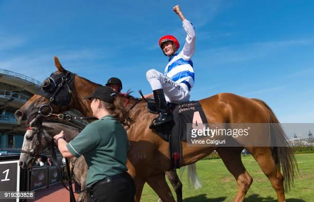 Regan Bayliss riding Redkirk Warrior after winning Race 8 Black Caviar Lightning during Melbourne Racing at Flemington Racecourse on February 17 2018...