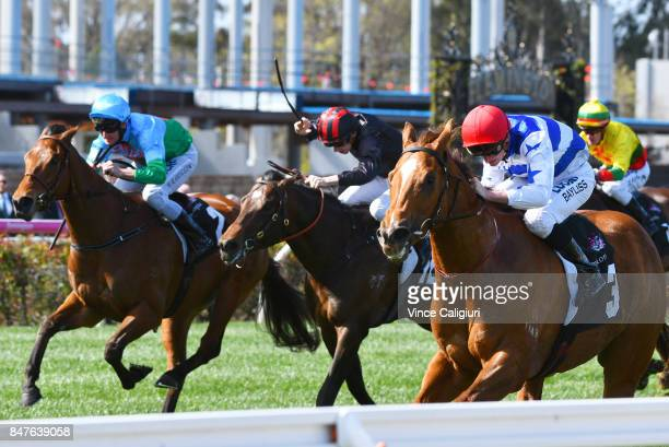Regan Bayliss riding Redkirk Warrior wins Race 4 Bobby Lewis Quality during Melbourne Racing at Flemington Racecourse on September 16 2017 in...