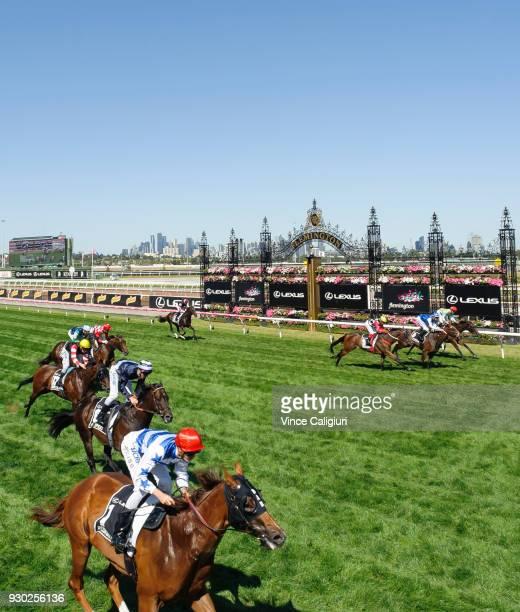 Regan Bayliss riding Redkirk Warrior wins Race 6 Lexus Newmarket Handicap during Melbourne Racing at Flemington Racecourse on March 10 2018 in...