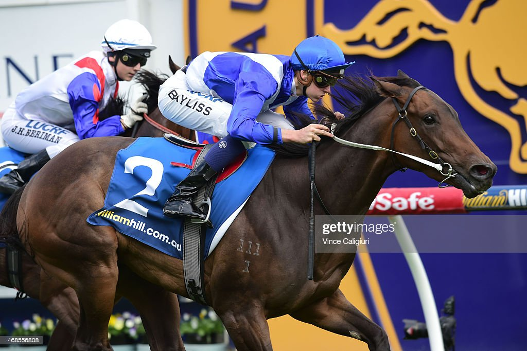 Regan Bayliss riding Samartested wins Race 5 during Melbourne racing at Caulfield Racecourse on April 4, 2015 in Melbourne, Australia.