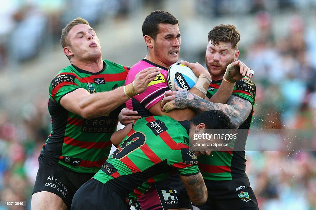 Regan Campbell-Gillard of the Panthers is tackled during the round 21 NRL match between the South Sydney Rabbitohs and the Penrith Panthers at ANZ Stadium on August 2, 2015 in Sydney, Australia.
