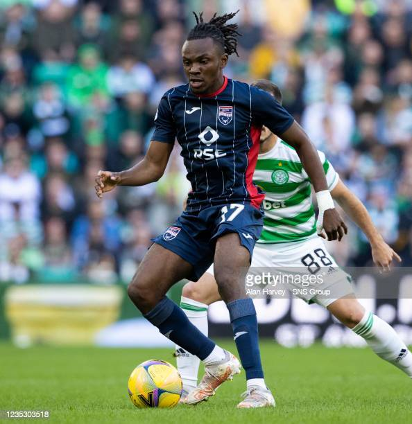 Regan Charles Cook in action for Ross Countys during a cinch Premiership match between Celtic and Ross County at Celtic Park on September 11 in...