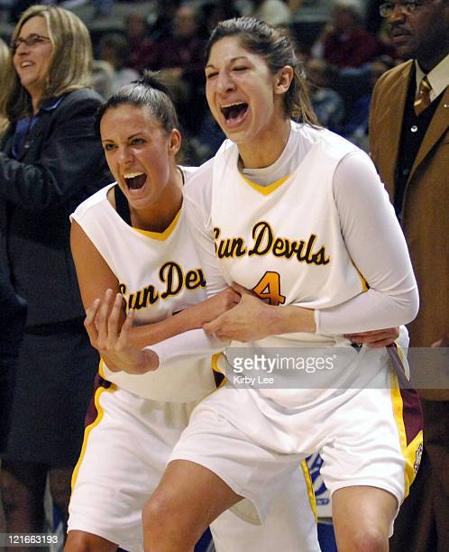 Regan Pariseau and Emily Westerberg of Arizona State celebrate during 7466 victory over Oregon State in Pacific10 Conference Tournament Quarterfinal...