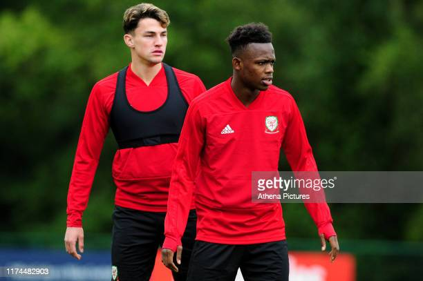 Regan Poole and Rabbi Matondo of Wales during the Wales Training Session at The Vale Resort on October 7, 2019 in Cardiff, Wales.