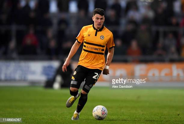 Regan Poole of Newport County during the Sky Bet League Two Playoff Semi Final First Leg match between Newport County and Mansfield Town at Rodney...