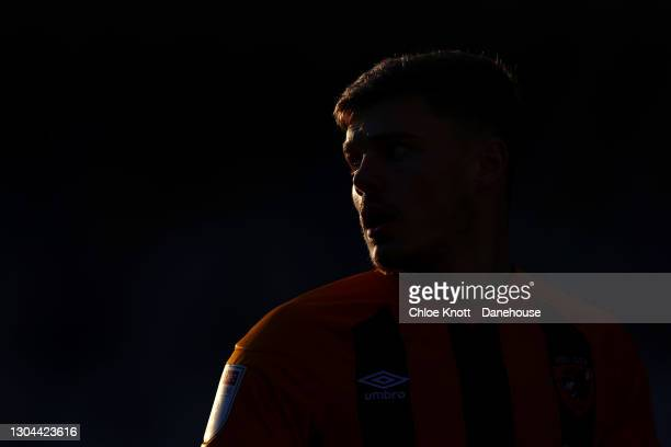 Regan Slater of Hull City during the Sky Bet League One match between AFC Wimbledon and Hull City at Plough Lane on February 27, 2021 in Wimbledon,...