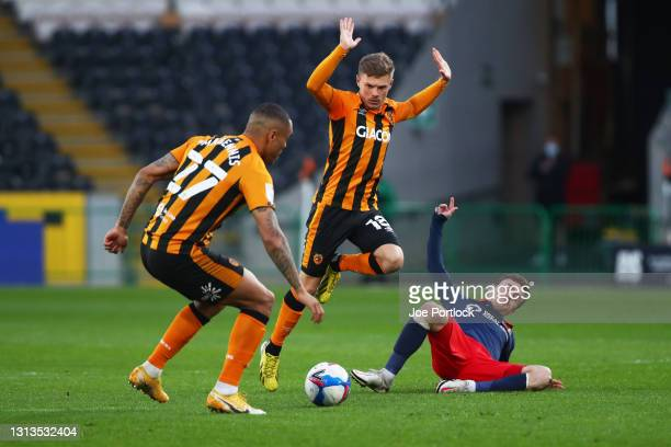 Regan Slater of Hull City during the Sky Bet League One match between Hull City and Sunderland at KCOM Stadium on April 20, 2021 in Hull, England....