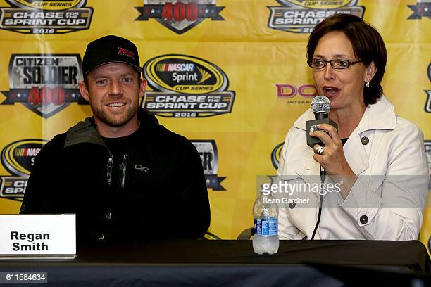 Regan Smith driver of the Citizen Soldier Chevrolet and Wendy Anderson speak to the media during a press conference for the film Citizen Soldier at...