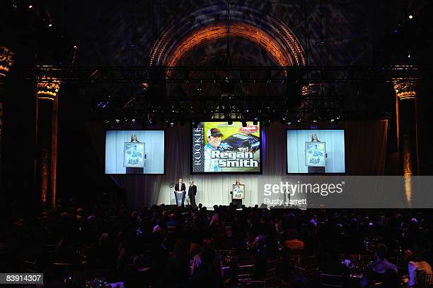 Regan Smith, driver of the DEI/The Principal Financial Group Chevrolet, recieves the Rookie of the Year award during NASCAR Champions Week NMPA Myers...