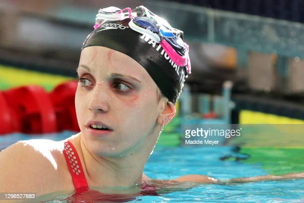 Regan Smith looks on after competing in the Women's 200 Meter Freestyle heats on Day Two of the TYR Pro Swim Series at San Antonio on January 15,...