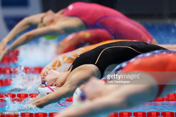 Regan Smith of Team United States competes in heat five of the Women's 100m Backstroke on day two of the Tokyo 2020 Olympic Games at Tokyo Aquatics...