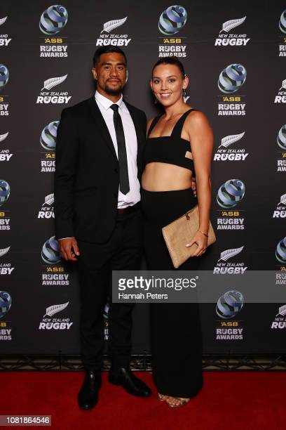 Regan Ware and Micaela Ashford pose on the red carpet during the 2018 ASB Rugby Awards at SkyCity Convention Centre on December 13 2018 in Auckland...