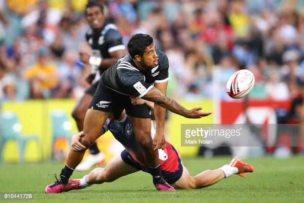 Regan Ware of New Zealand in action in the mens pool match between New Zealand and Russia during day one of the 2018 Sydney Sevens at Allianz Stadium...