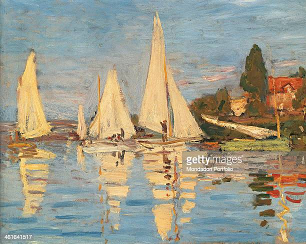 Regatta at Argenteuil by Claude Monet 19th Century oil on canvas France Paris Musée d'Orsay Detail Boats mirrored in the water
