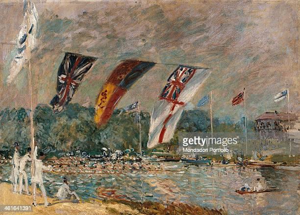 Regatta at Molesey by Alfred Sisley 19th Century oil on canvas France Paris Musée d'Orsay Whole artwork view Flags on the water during the regatta