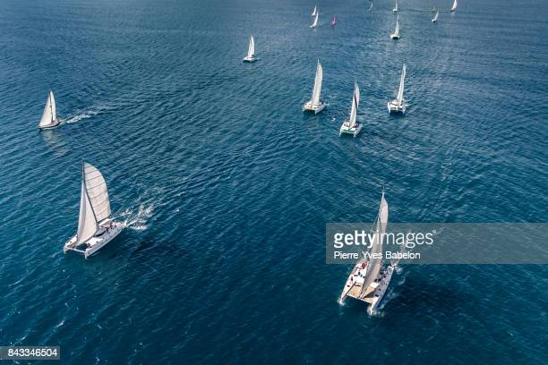 regatta in the indian ocean - sports team event stock photos and pictures