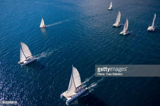 regatta in the indian ocean - catamaran stock photos and pictures