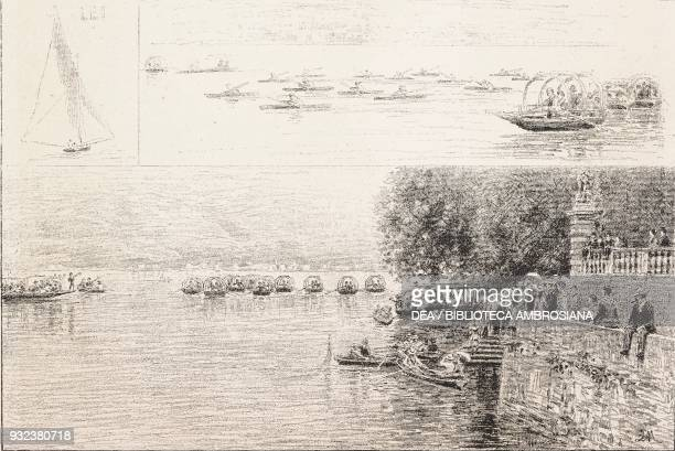 Lei the boat which won the first prize the scull race the intertowns' race on the lake Italy drawing by Quintilio Michetti engraving from...