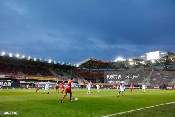 Regenboog Stadium general view during the Belgian First Divison A Europa League Playoffs tie between Zulte Waregem and OH Leuven at Regenboog Stadium...