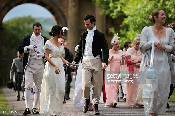 Regency costumed guests arrive for the the Pride and Prejudice Ball at Chatsworth House on June 22, 2013 in Chatsworth, England. To celebrate the...
