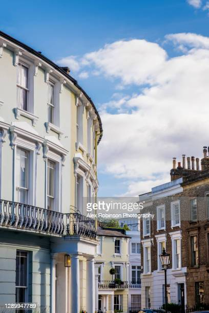 a regency era, early 19th century crescent of houses in primrose hill, london - house stock pictures, royalty-free photos & images