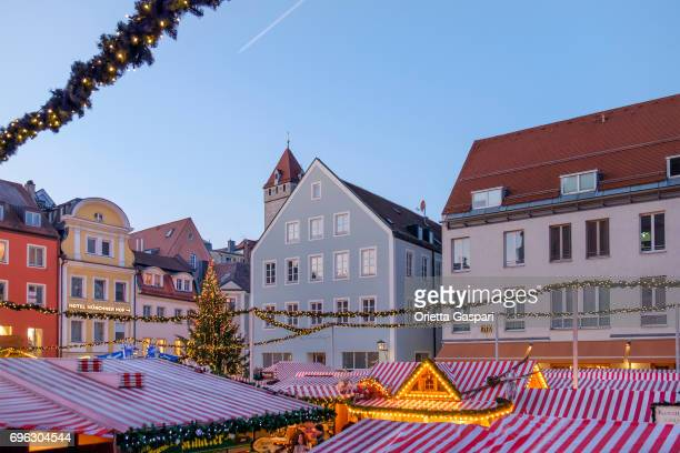 regensburg at christmas, neupfarrplatz - germany - regensburg stock photos and pictures