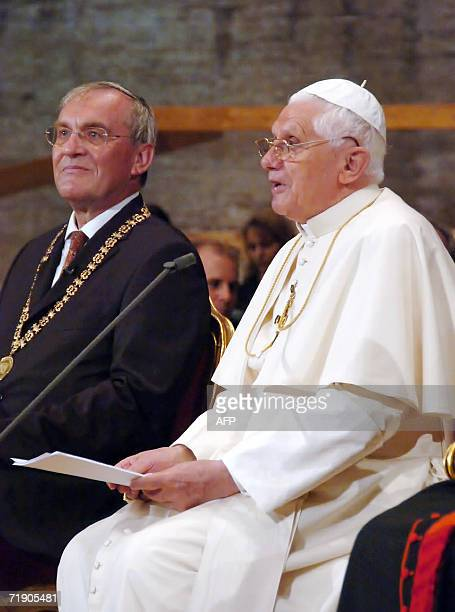 This picture released by the Vatican 16 September 2006, shows Pope Benedict XVI giving a speech at the Regensburg University on 12 September 2006....