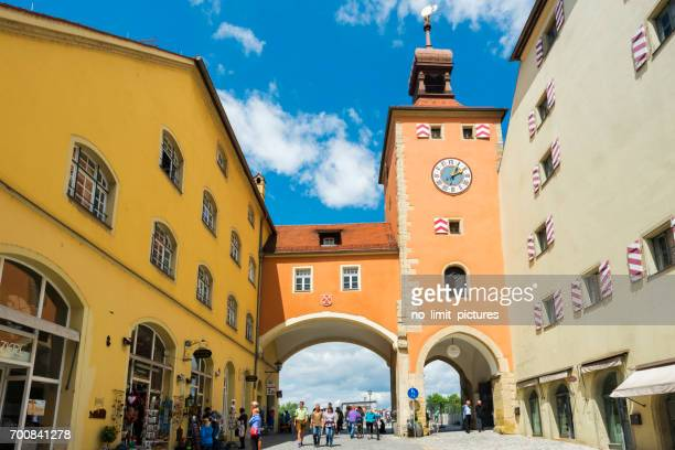 regensburg old stone bridge - regensburg stock photos and pictures