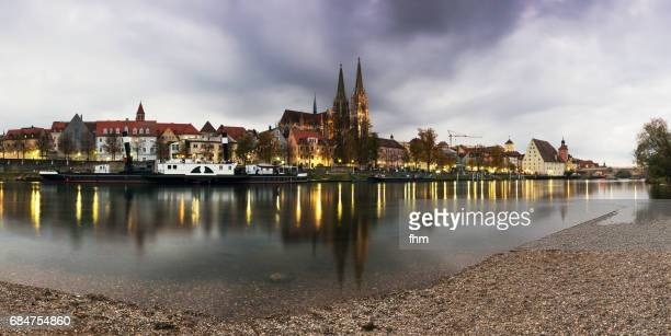 regensburg skyline panorama (bavaria/ germany) - regensburg stock photos and pictures