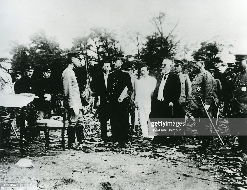 Regent Hirohito (4L) inspects the damage after the Great Kanto Earthquake at Ueno Park on September 15, 1923 in Tokyo, Japan. The estimated Magnitude 7.9 strong earthquake hit Japan's capital Tokyo and surrounding area, the death toll was estimated up to 105,000 people. Approximately 38,000 victims were killed by fire whirl engulfed the former Army Clothing Depot site, where people had evacuated.