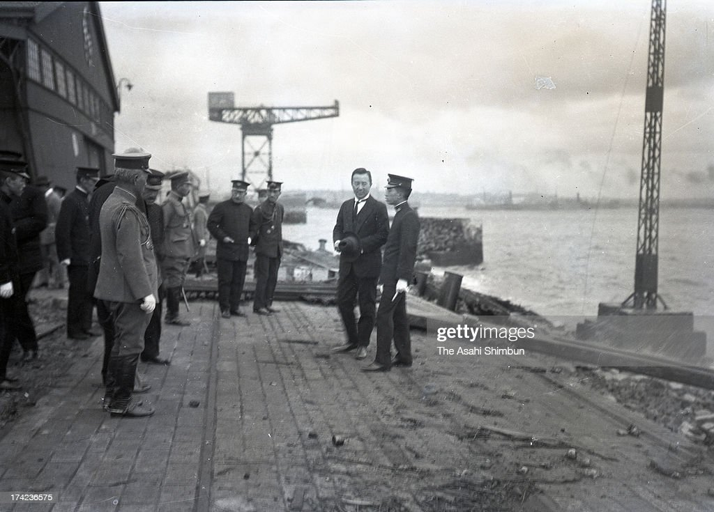 Regent Hirohito inspects the damage of Yokohama Port, after the Great Kanto Earthquake on October 10, 1923 in Yokohama, Kanagawa, Japan. The estimated Magnitude 7.9 strong earthquake hit Japan's capital Tokyo and surrounding area, the death toll was estimated up to 105,000 people. Approximately 38,000 victims were killed by fire whirl engulfed the former Army Clothing Depot site, where people had evacuated.