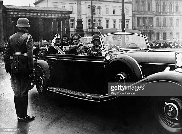 Regent Horthy during his visit in Berlin with Adolf Hitler taking the salute on August 25 1938 in Berlin Germany