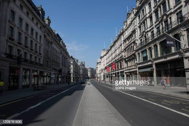Regent street deserted during lockdown due to corona virus pandemic Boris Johnson announced strict lockdown measures urging people to stay at home...