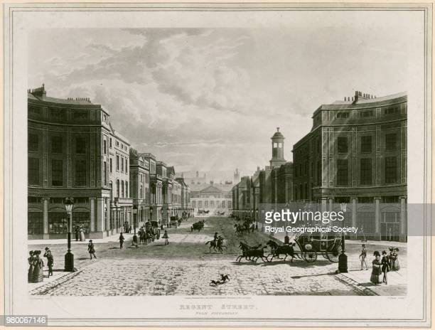 Regent street from Piccadilly [Regent street c 1830 in the neighbourhood of Waterloo Place] This house in Regent Street was home to the Royal...