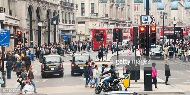 regent street london - pedestrians stock photos and pictures