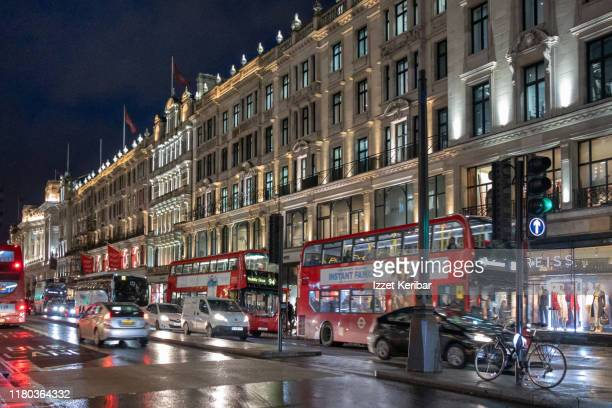 regent street on a rainy evening, london uk - central london stock pictures, royalty-free photos & images