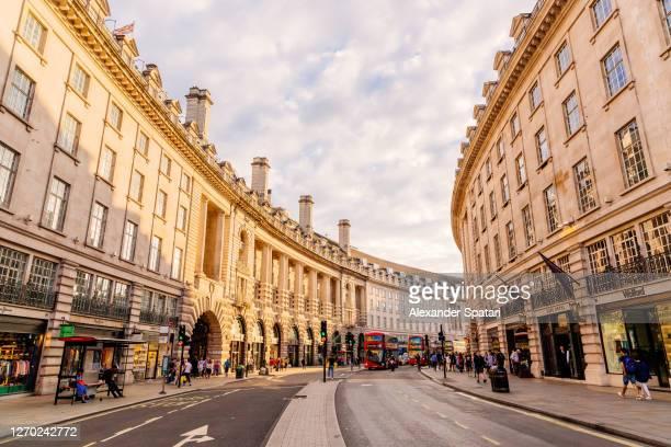 regent street on a sunny day, london, uk - piccadilly bildbanksfoton och bilder