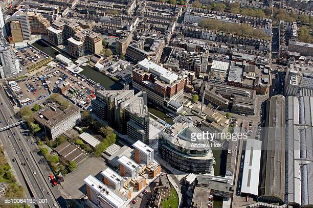 regent's canal and building exterior, aerial view - st mary's hospital paddington stock pictures, royalty-free photos & images