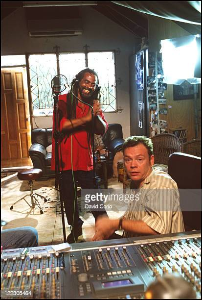 Reggae artists John Holt and Ali Campbell of UB40 in a recording studio in Oracabessa Jamaica August 2000