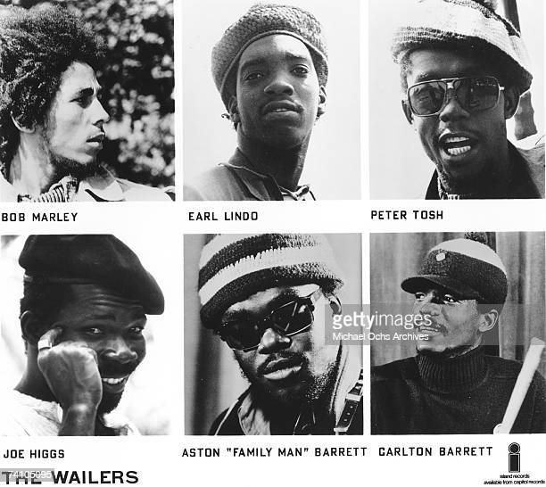 Reggae band The Wailers featuring Bob Marley Earl Hinds Joe Higgs Peter Tosh Aston Family Man Barrett and Carlton Barrett pose for portraits in this...