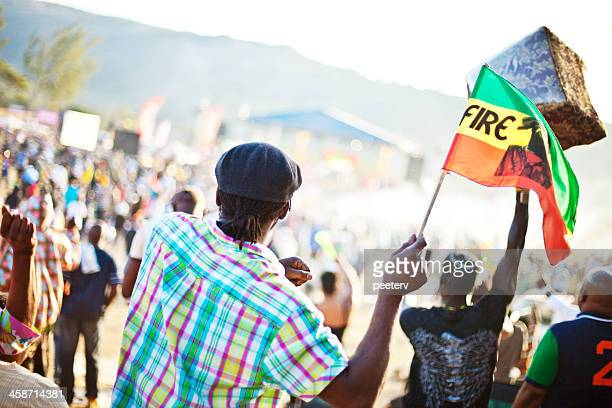 reggae festival crowd. - reggae stock photos and pictures