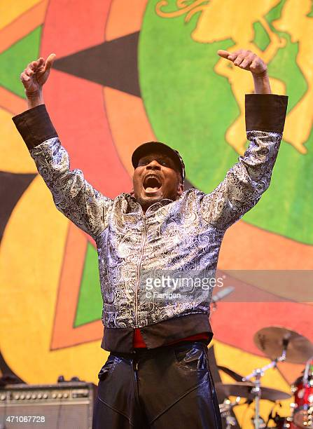 Reggae Legend Jimmy Cliff performs during Day 1 of the 2015 New Orleans Jazz Heritage Festival at Fair Grounds Race Course on April 24 2015 in New...