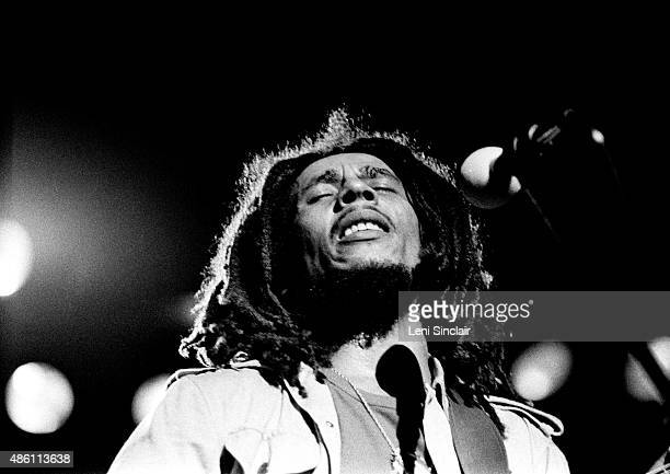 Reggae musician Bob Marley performs on May 10th1977 at Masonic Temple in Detroit Michigan