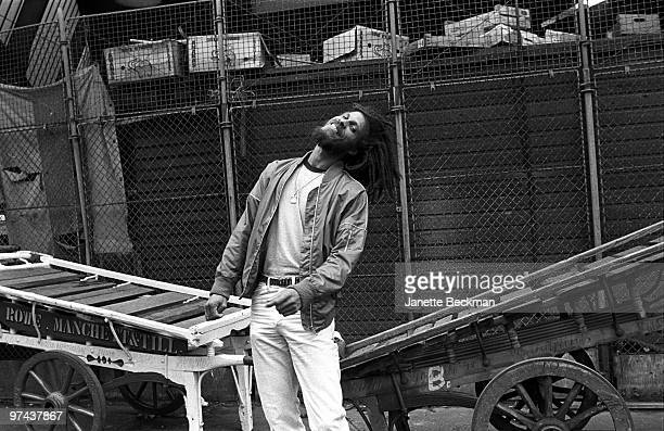Reggae musician Cedric Myton poses for a portrait in1980 in London England